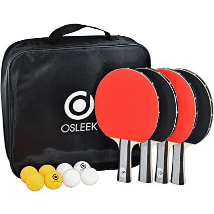 Amazon.com: Osleek Ping Pong Paddle Set – Juego de 4 ...
