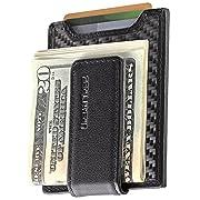 Secure Slim Carbon Fiber Money Clip Wallet RFID EDC Front Pocket Card Holder