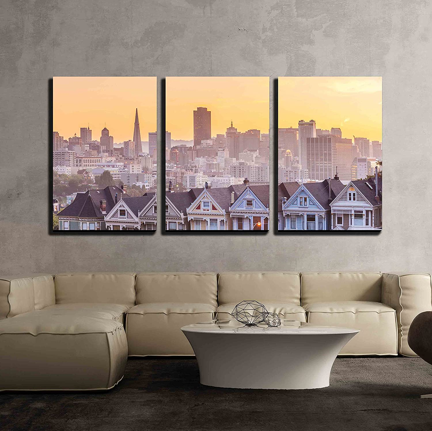 Wall26   3 Piece Canvas Wall Art   Famous View Of San Francisco At Alamo  Square
