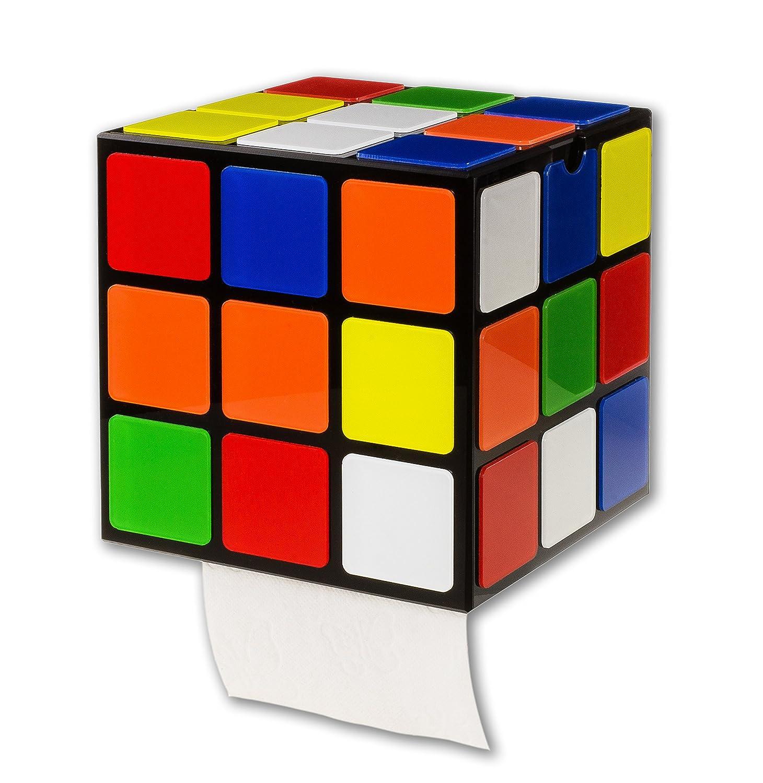 getDigital cubo di Rubik porta carta igienica, fissaggio senza trapano, con coperchio e ripiano | 14 x 14 x 14 cm con coperchio e ripiano | 14x 14x 14cm