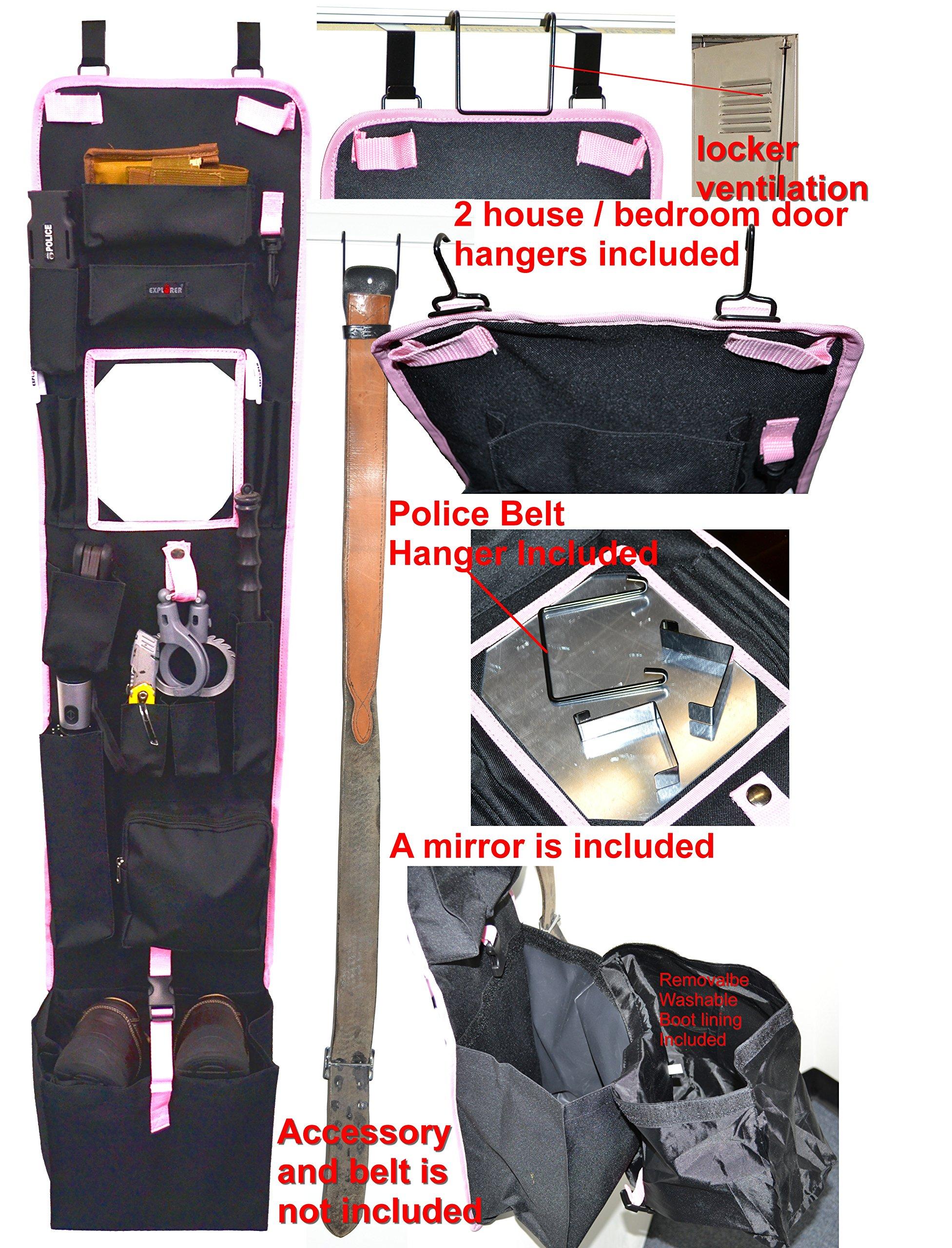 Explorer Tactical Police Locker Door Hanging Organizer Black/Pink 52″ x 11″