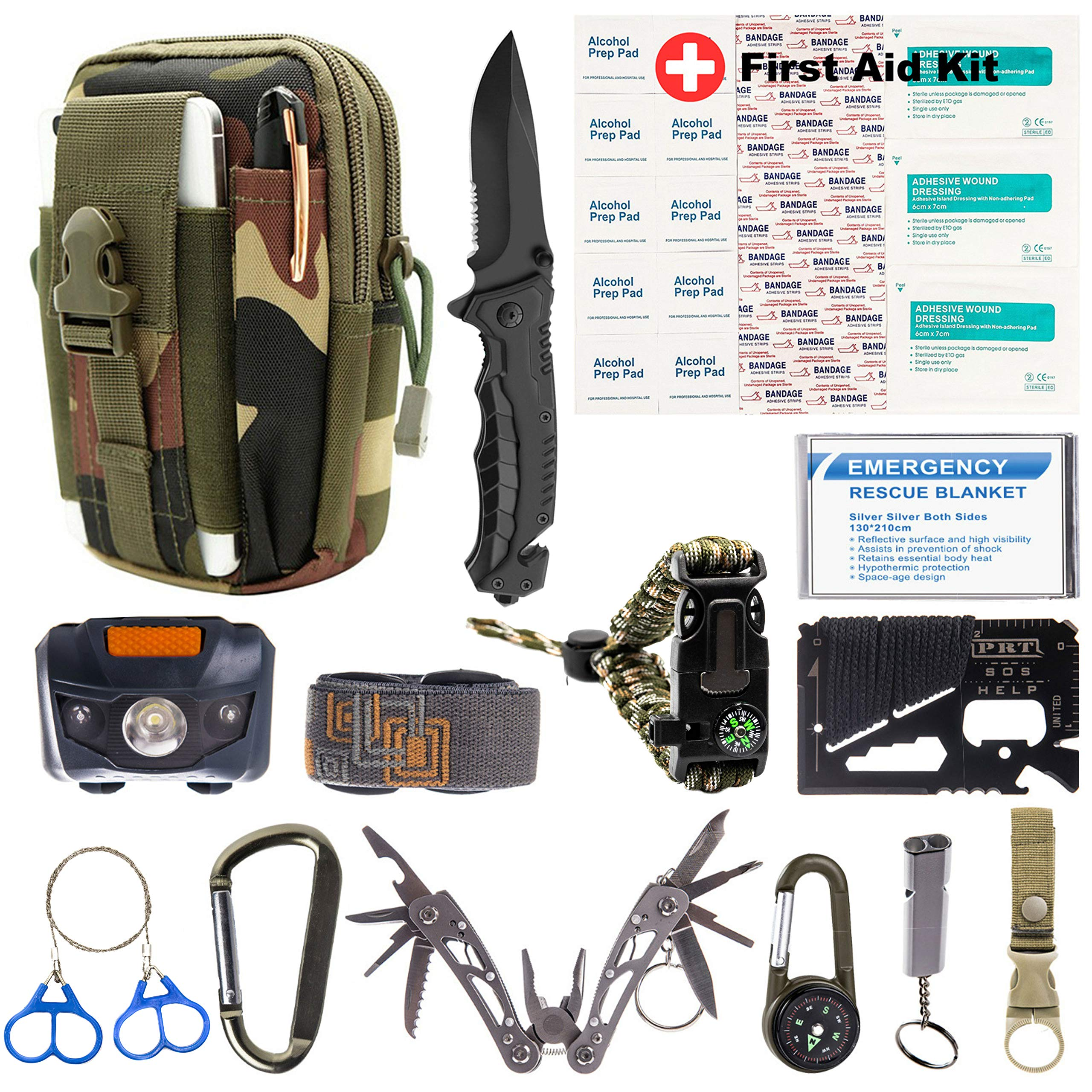Mastersos Survival Emergency Kit - Survival Gear for Outdoor, Hiking and Camping - SOS Survival Kit with Emergency Blanket, Headlight, Military Knife, Compass, Wire Saw, Saber Card and More by Mastersos