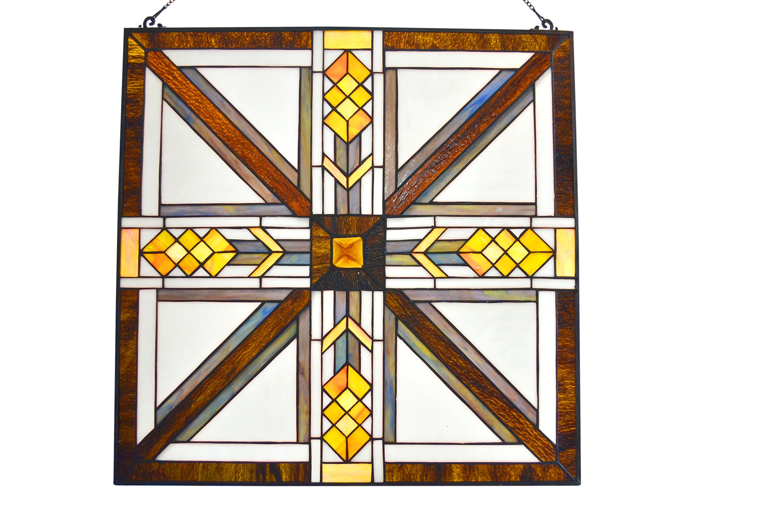 LDGJ Mission Style Stained Glass Southwestern Amber Brown White Glass Panel 22'' x 22'' by LDGJ