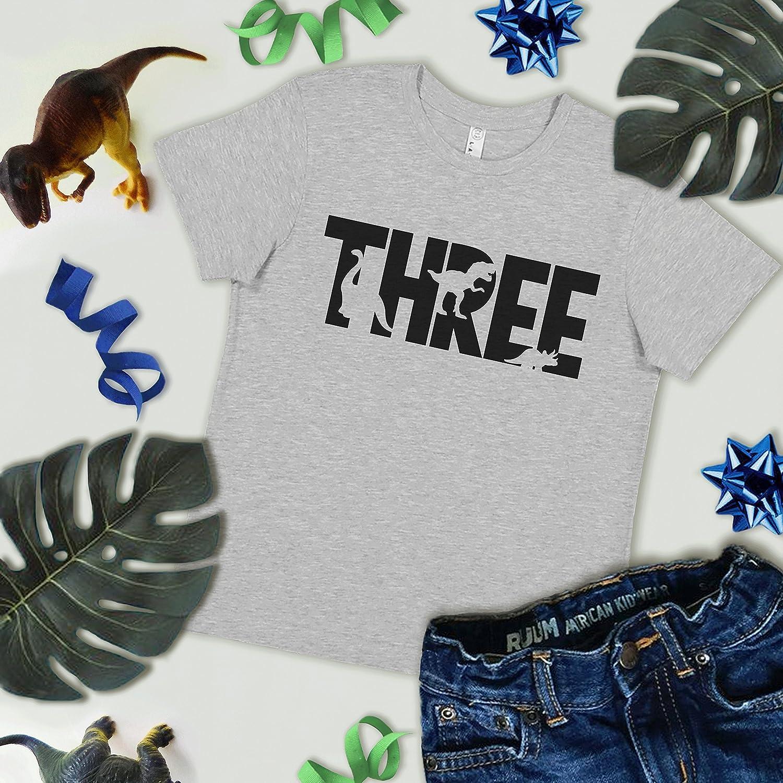 7 ate 9 Apparel Kids Three Dinosaur Birthday Grey T-Shirt