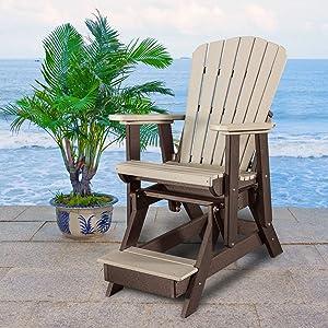 American Furniture Classics 516WWTB Fan Back Glider, Weatherwood