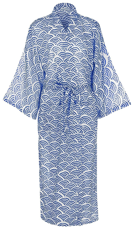 Leichter und Langer Morgenmantel BZW. Bademantel Damen – Regenbogen Blau - sehr feine biologische Baumwolle   Leichter Bademantel Damen   Yukata-Bademantel