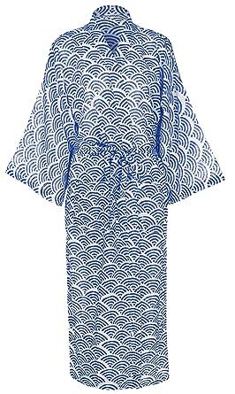 dd7d6378c732e1 Leichter und Langer Morgenmantel BZW. Bademantel Damen – Regenbogen Blau -  sehr feine biologische Baumwolle