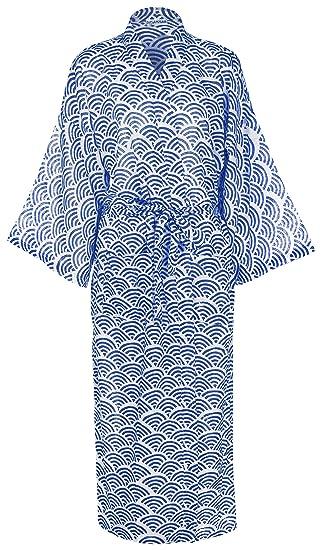 Ladies Lightweight Cotton Dressing Gown - Kimono Robe 100% cotton ... bf2d95684