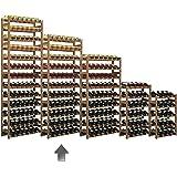 Casier à bouteilles / Étagère à vin SIMPLEX, modéle 4 en bois de pin teinté, pour 77 bouteilles - H 166 x L 72 x P 25 cm