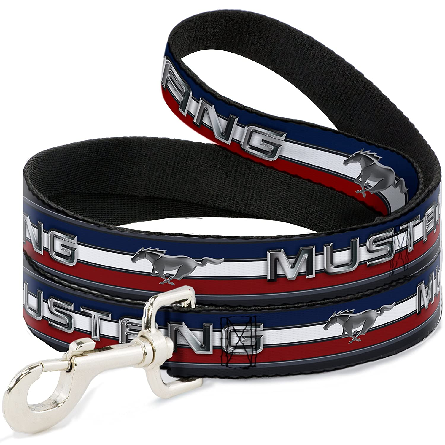 4Ft. Long  1.5 Inches wide Wide Buckle-Down Pet Leash Mustang Text w Tri-Bar Stripe 4 Feet Long 1.5  Wide