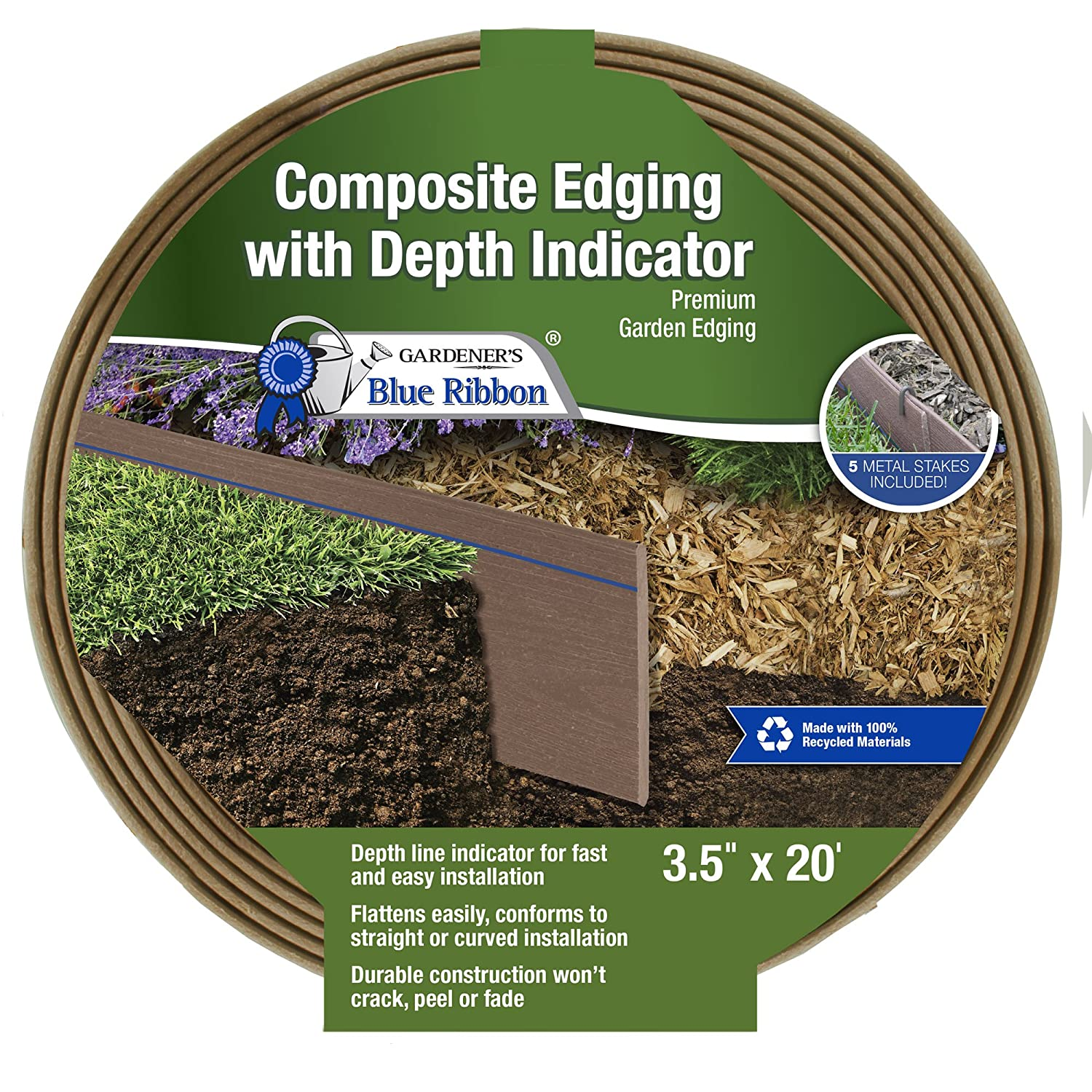 Gardener s Blue Ribbon 903010BR Composite Lawn Edging, One Size, Cedar Brown