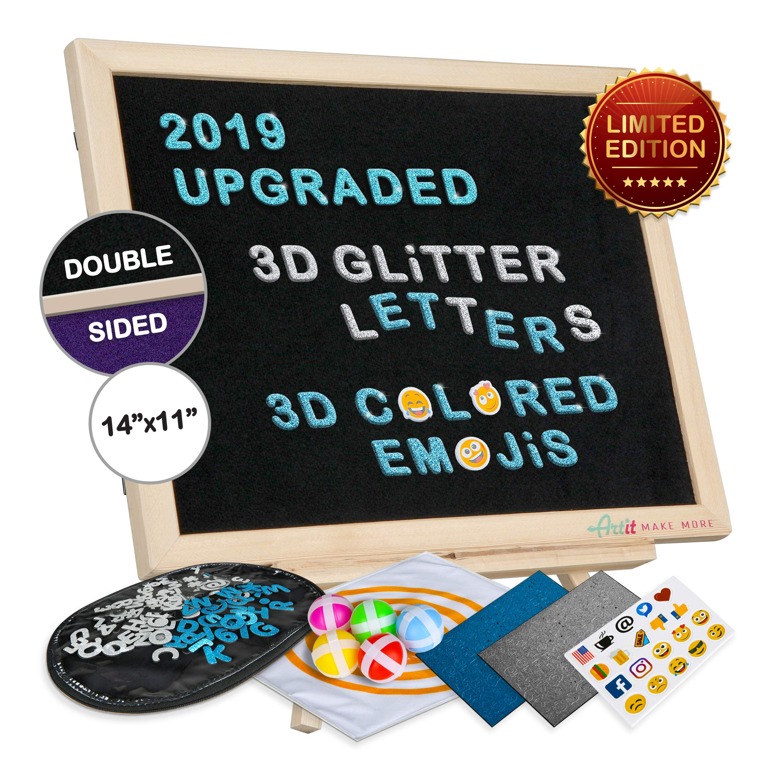 2019 Upgraded Felt Letter Board Set 11x14\' Double Sided Black Purple 3D Glitter Characters Colored Emojis Kids Dartboard Game Wooden Frame Wood Stand Changeable Message Letterboard Signs Words Quotes