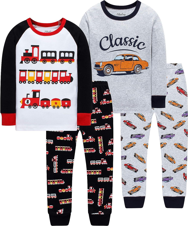 shelry Boys Fire Trucks Pajamas Children Cars Clothes Christmas Kids 4 Pieces Pants Set Baby Girls Clothes PJs
