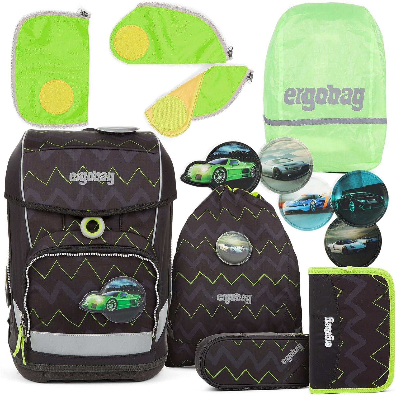 Ergobag cubo LIGHT Ultraleichter Schulranzen Drunter und DrüBär (5-tlg.) + Regenhaube + Sicherheitsset Grün