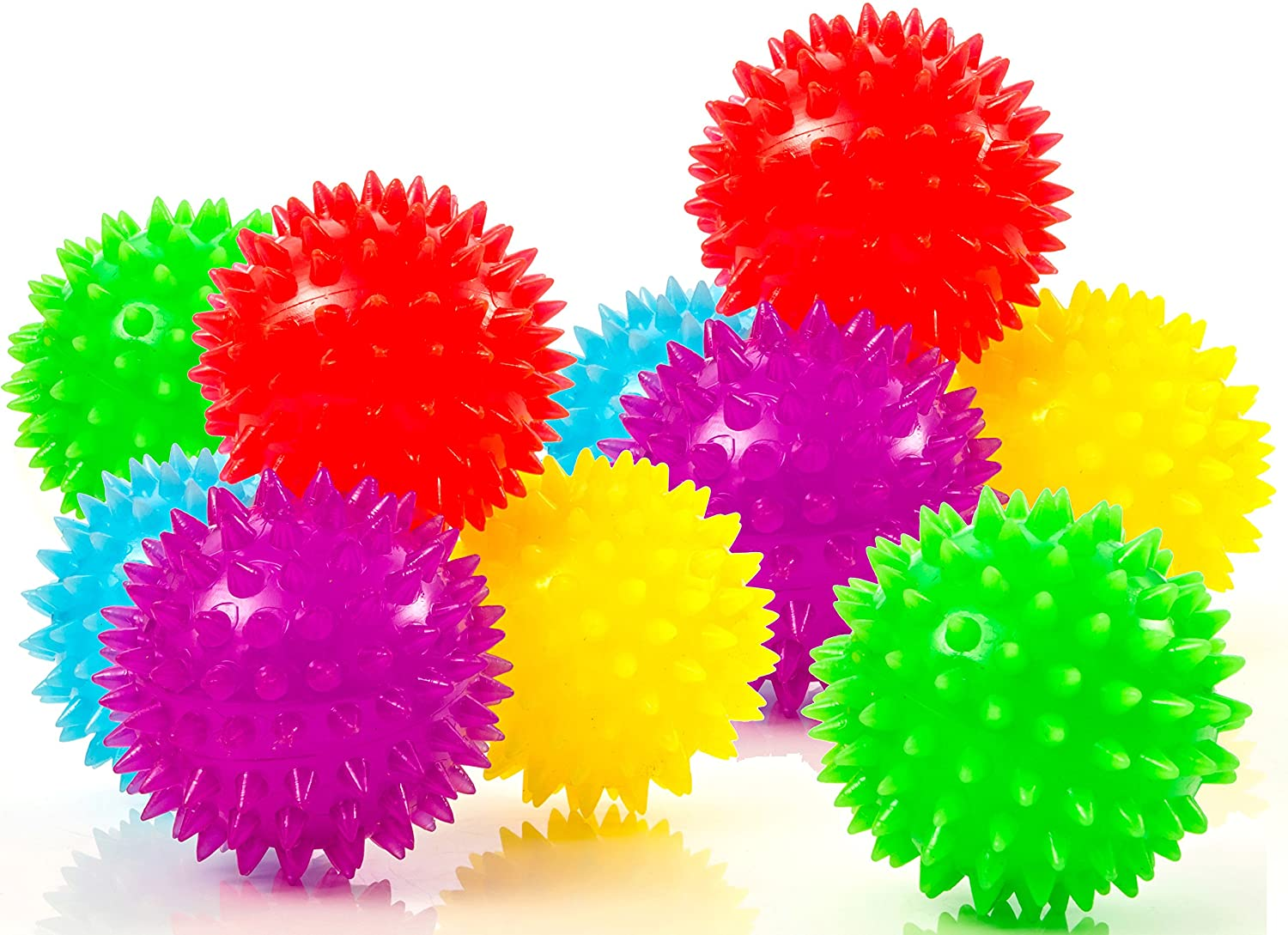 Impresa Products 10-Pack of Spiky Sensory Balls - Squeezy and Bouncy Fidget Toys / Sensory Toys - BPA/Phthalate/Latex-Free