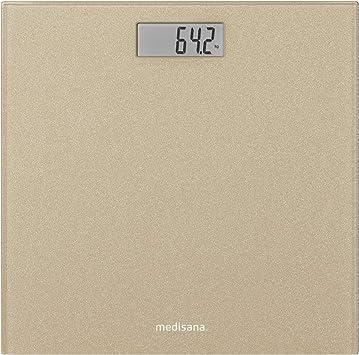 Medisana PS 500 Glitter Báscula de baño digital de hasta 180 kg, de vidrio, pantalla LED invisible, con motivos, interruptor