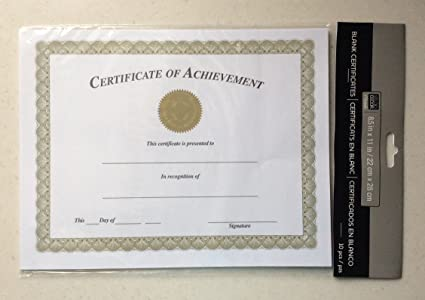 Amazon.com : CERTIFICATE of ACHIEVEMENT - -Blank 10 Pack 8.5 X 11 ...