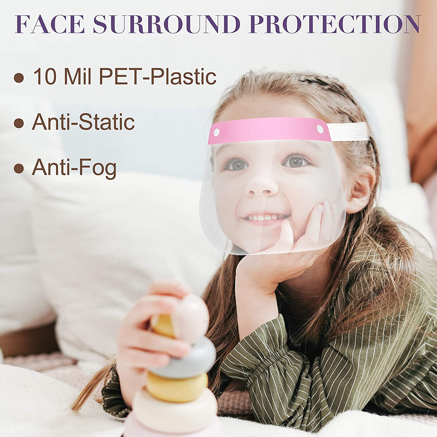 Set Of 12 Shield for kids Boys Girls protection clear guard plastic 3 to 12 yea