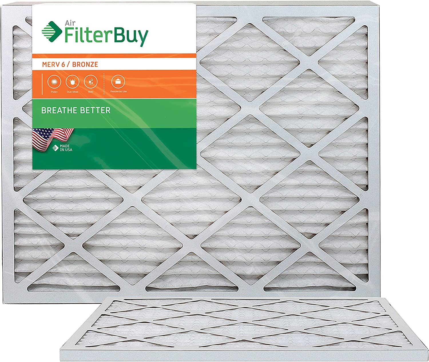100/% produced in the USA. Pack of 2 Filters AFB Bronze MERV 6 20x20x2 Pleated AC Furnace Air Filter