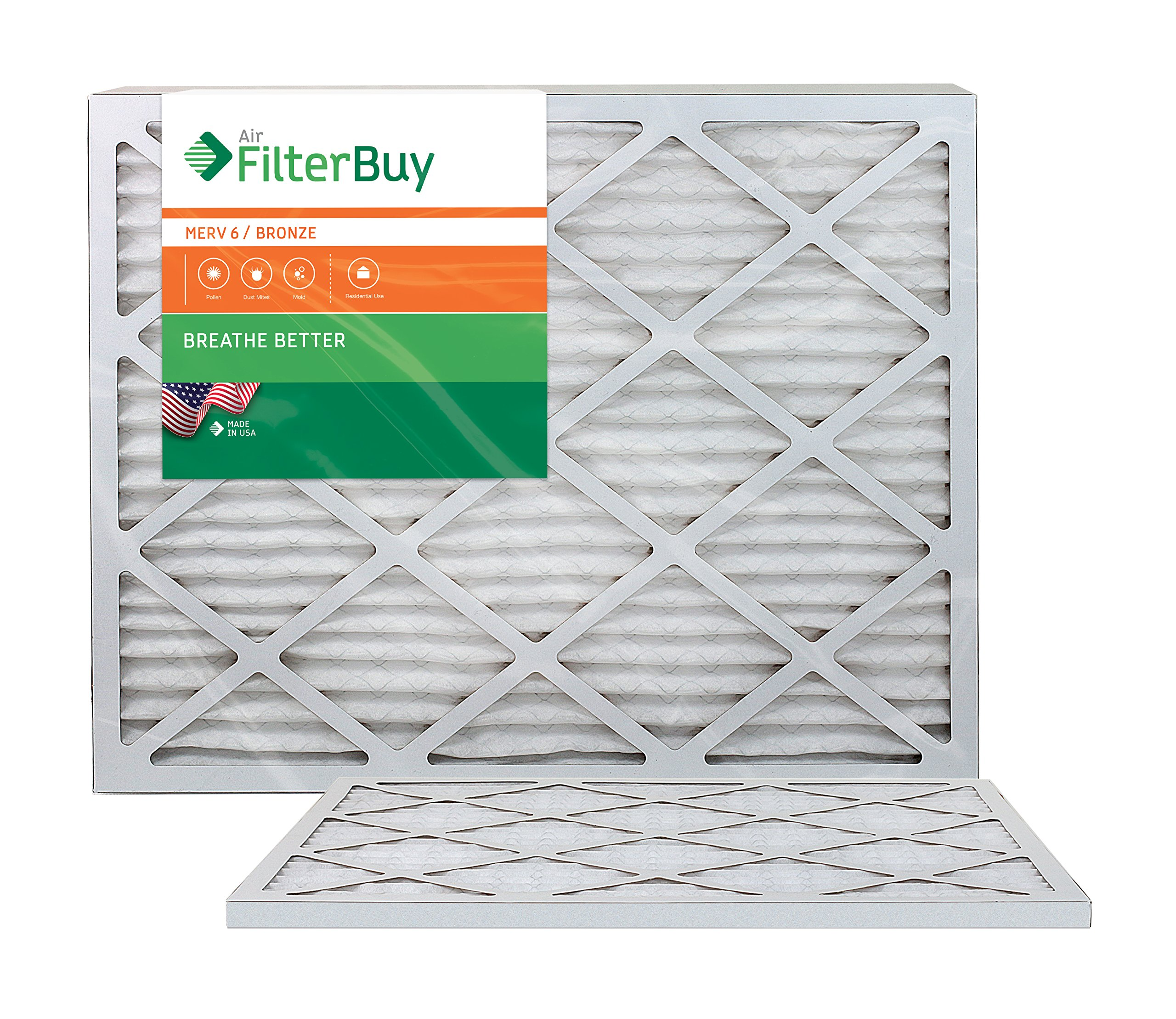 AFB Bronze MERV 6 25x28x1 Pleated AC Furnace Air Filter. Pack of 2 Filters. 100% produced in the USA. by FilterBuy