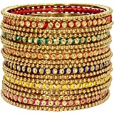 Mansiyaorange Party Casual WearTraditional Rajhasthani Silk Thread Work AD Stone Bangles Set for Women