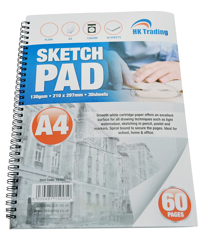 3 x Large A3 Sketch Pads White Cartidge Paper 110gsm 30 Sheet Drawing Artist