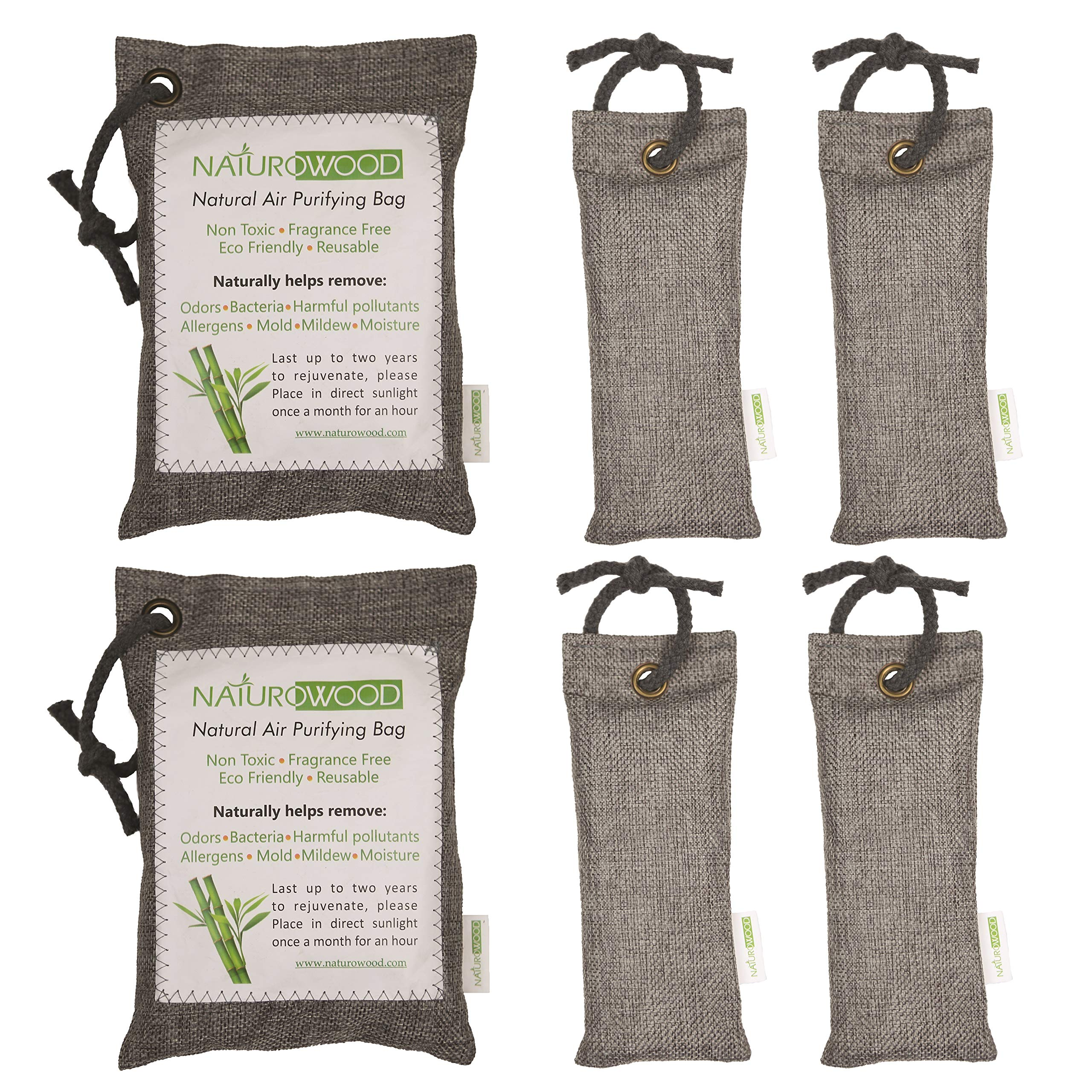 NaturoWood Bamboo Charcoal Air Purifying Bags, The Best Natural Odor Eliminator for Home, Cars, Closets, Bathrooms, Sport Shoes and Bags and Pet Areas- 4x75 g and 2x200 g with 4 Hanging Robes by NaturoWood