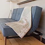 """SLPR Savannah Cotton Real Patchwork Quilted Throw (50"""" x 60"""")   Home Chic Multicolor Decorative Throw for Bed Couch Sofa"""