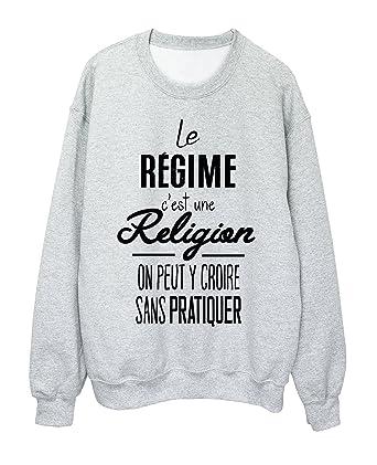 Sweat Shirt Citation Humour Le Régime Ref 1995 Amazon Fr