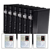 Bellagio-Italia Black Leather Disc Storage Binder Perfect for CDs, DVDs, Blu-Rays, and Video Games. 6 Pack Includes 24 Additional Insert Sheets - Set Holds 352 Discs Total.