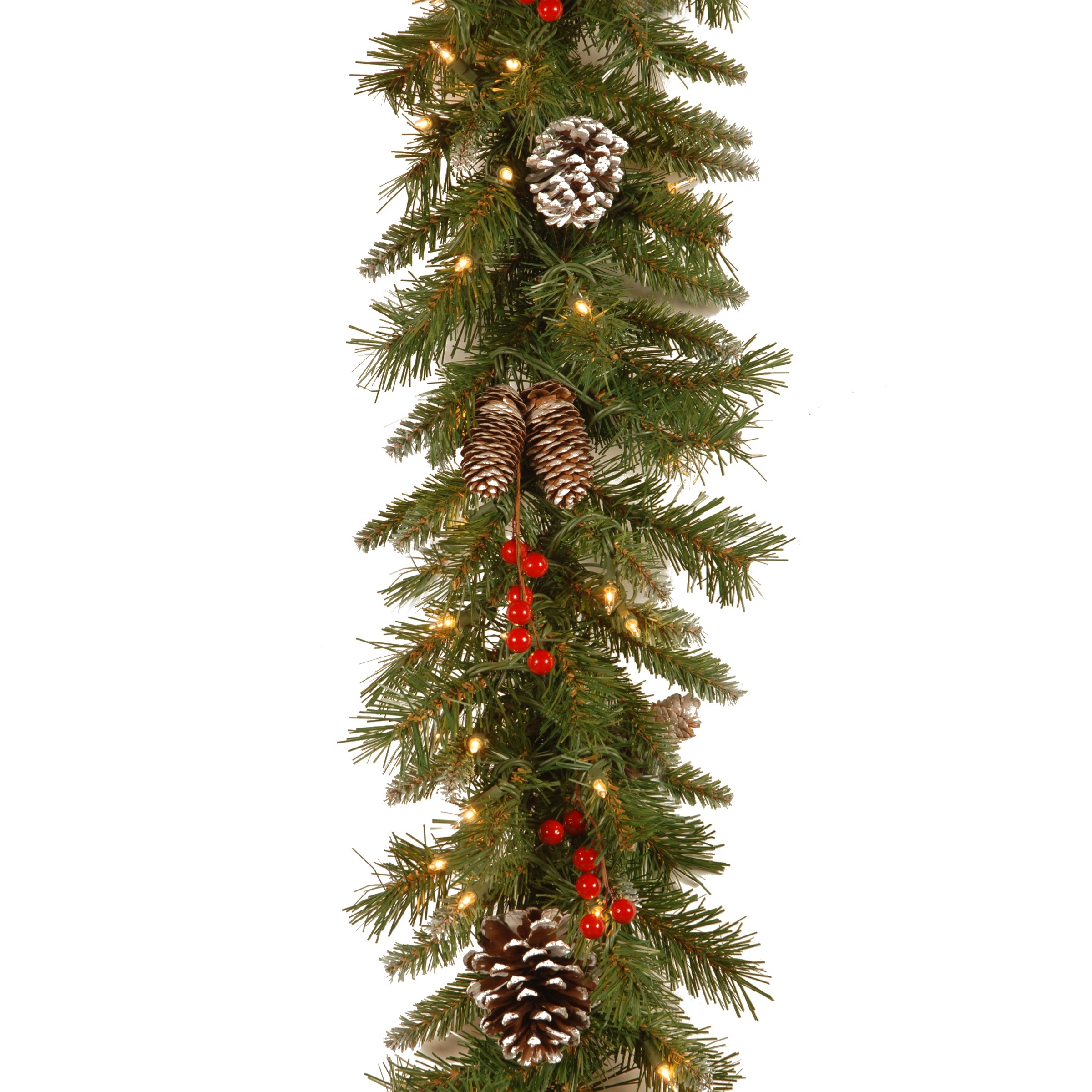 National Tree 9 Foot by 10 Inch Frosted Berry Garland with 100 Clear Lights (FRB-9GLO-1) by National Tree Company