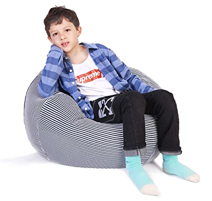 Magnificent Stuffed Animal Storage Bean Bag Chair Bean Bag Cover For Organizing Kids Room Fits A Lot Of Stuffed Animals Large Navy Stripe Cjindustries Chair Design For Home Cjindustriesco