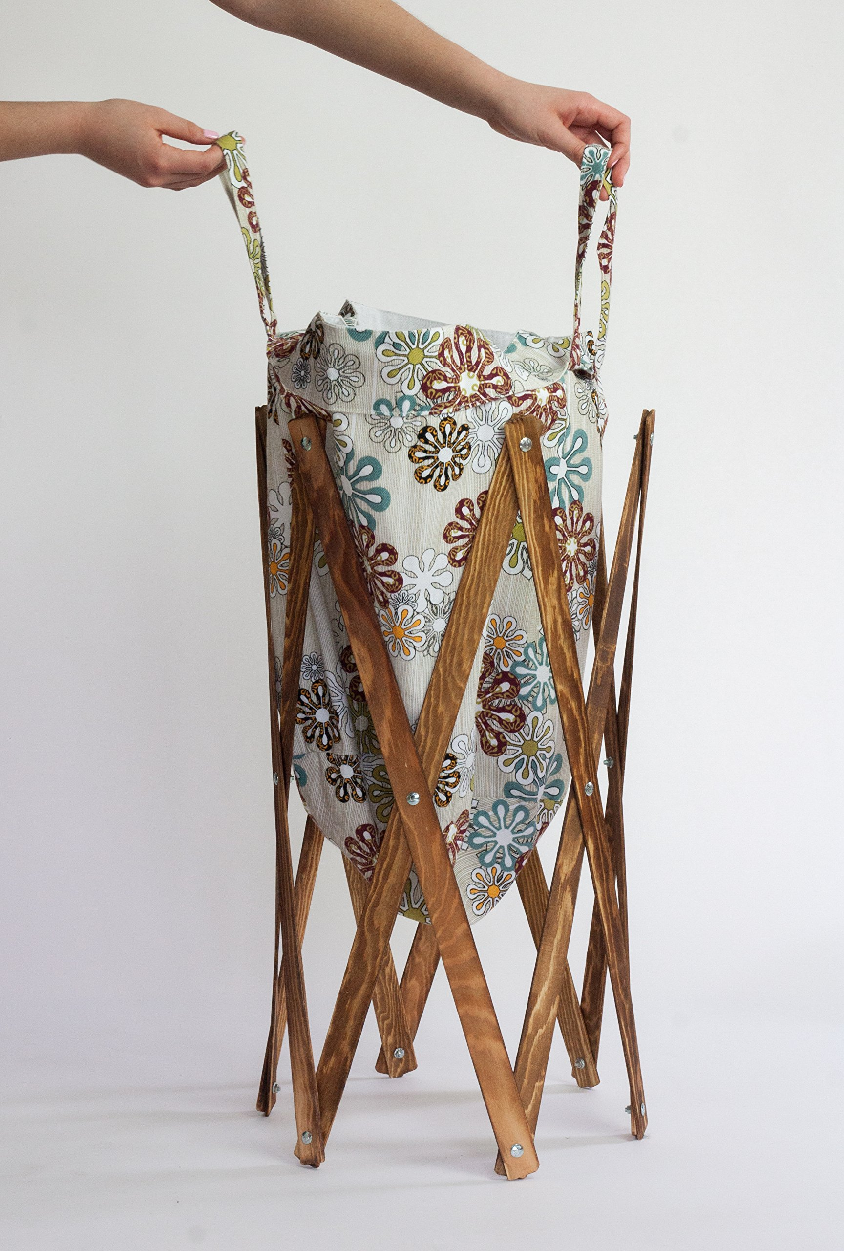 MAX + RAE Collapsible Laundry Hamper with Stained Wood Frame | Dirty Clothes Storage | Removable Fabric Bag with Handles, Easy to Carry and Clean | Nursery, Kids Bedroom, Bathroom (Flower Art 2) by MAX + RAE (Image #6)