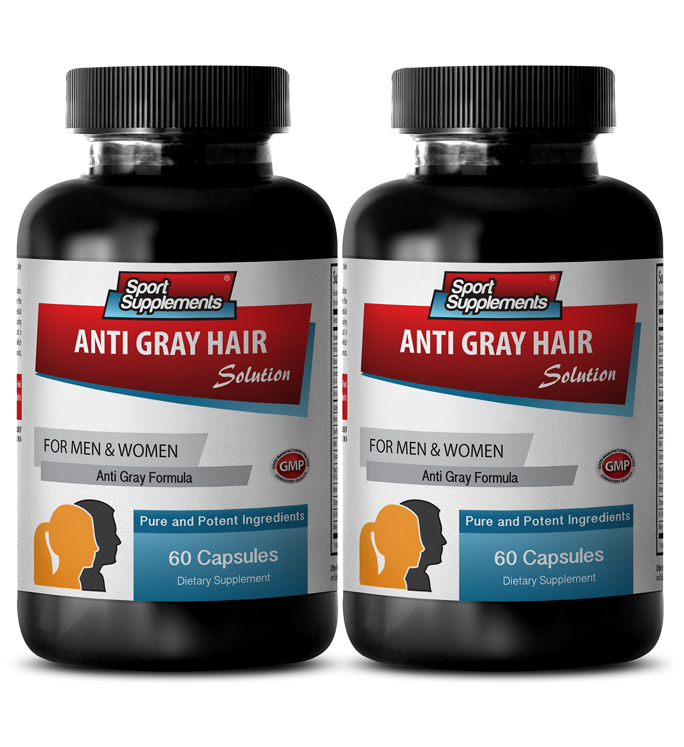 Gray hair remedy - ANTI GRAY HAIR NATURAL FORMULA for Men and Women - Zinc, Nettle, PABA - 2 Bottles 120 Capsules