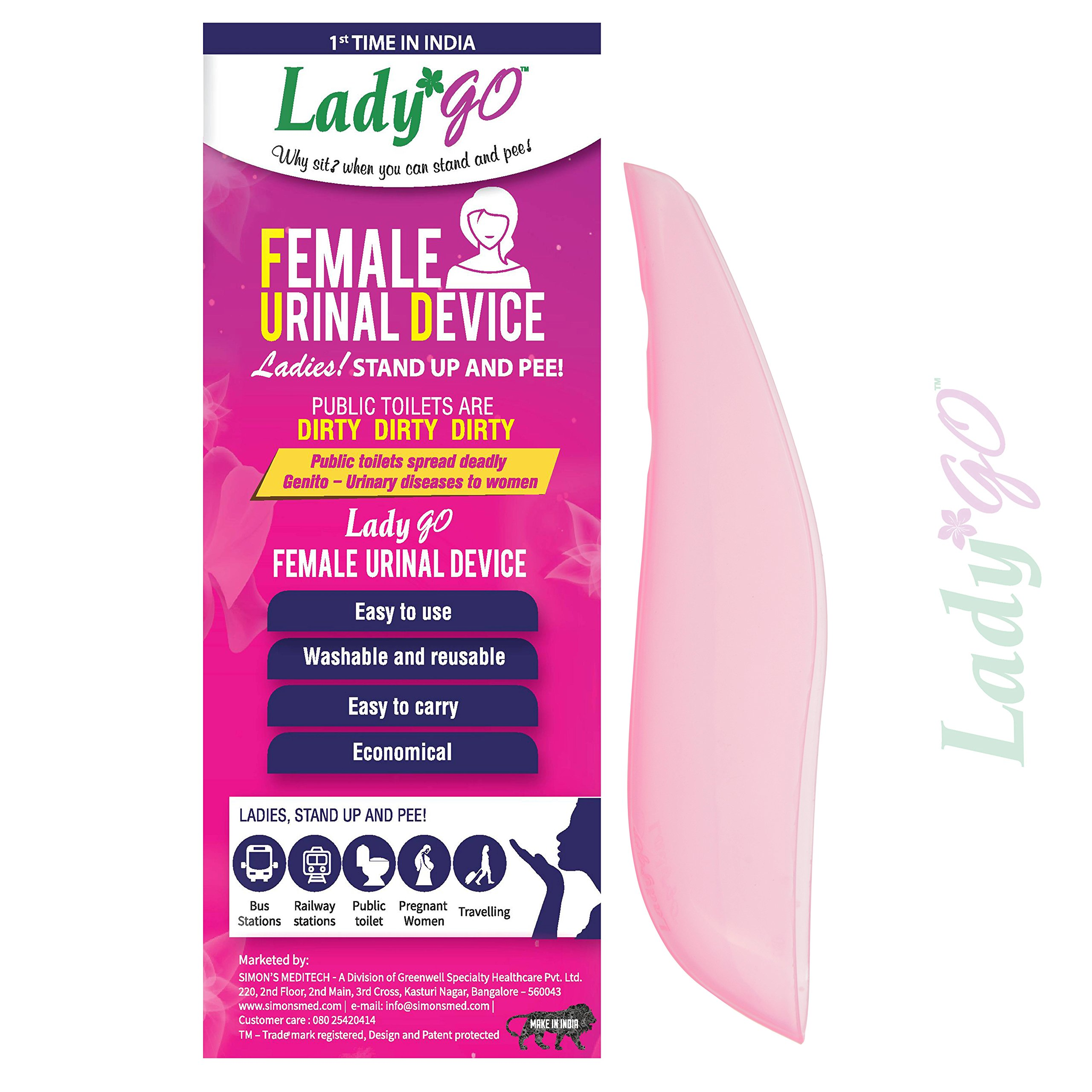 LadyGo - Reusable Female Urinal Device(FUD) - Stand-up and pee - Pink (Pack Of 1) product image