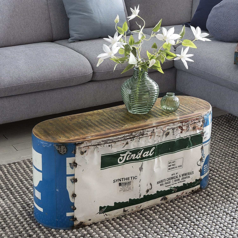FineBuy Couchtisch Indira 84 x 37 x 29 cm Metall/Holz Beistelltisch Shabby-Chic | Design Stubentisch Vintage klein | Wohnzimmertisch Sofatisch schmal | Kaffeetisch massiv | Kleiner Metalltisch