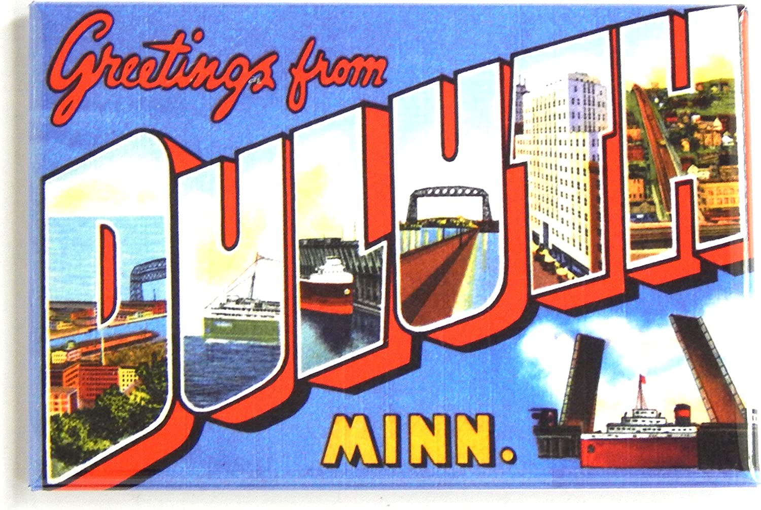 Greetings from Duluth Minnesota Fridge Magnet (2 x 3 inches) style B