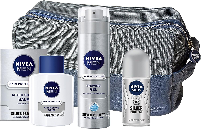 Nivea Silver protect – regalo para hombre – Loción para después del afeitado, gel de afeitar, roll-on y neceser: Amazon.es: Belleza