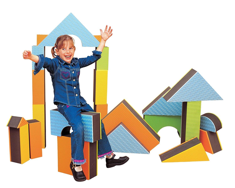 Edushape 5 Jumbo Textured Blocks Set of 16 toys 710145 Construction