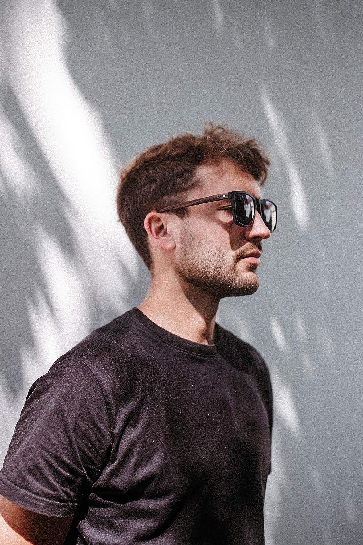 protecci/ón UV400 para hombres: patilla de madera y montura de pl/ástico Gafas de sol cuadradas grandes TAKE A SHOT lentes antirreflejos