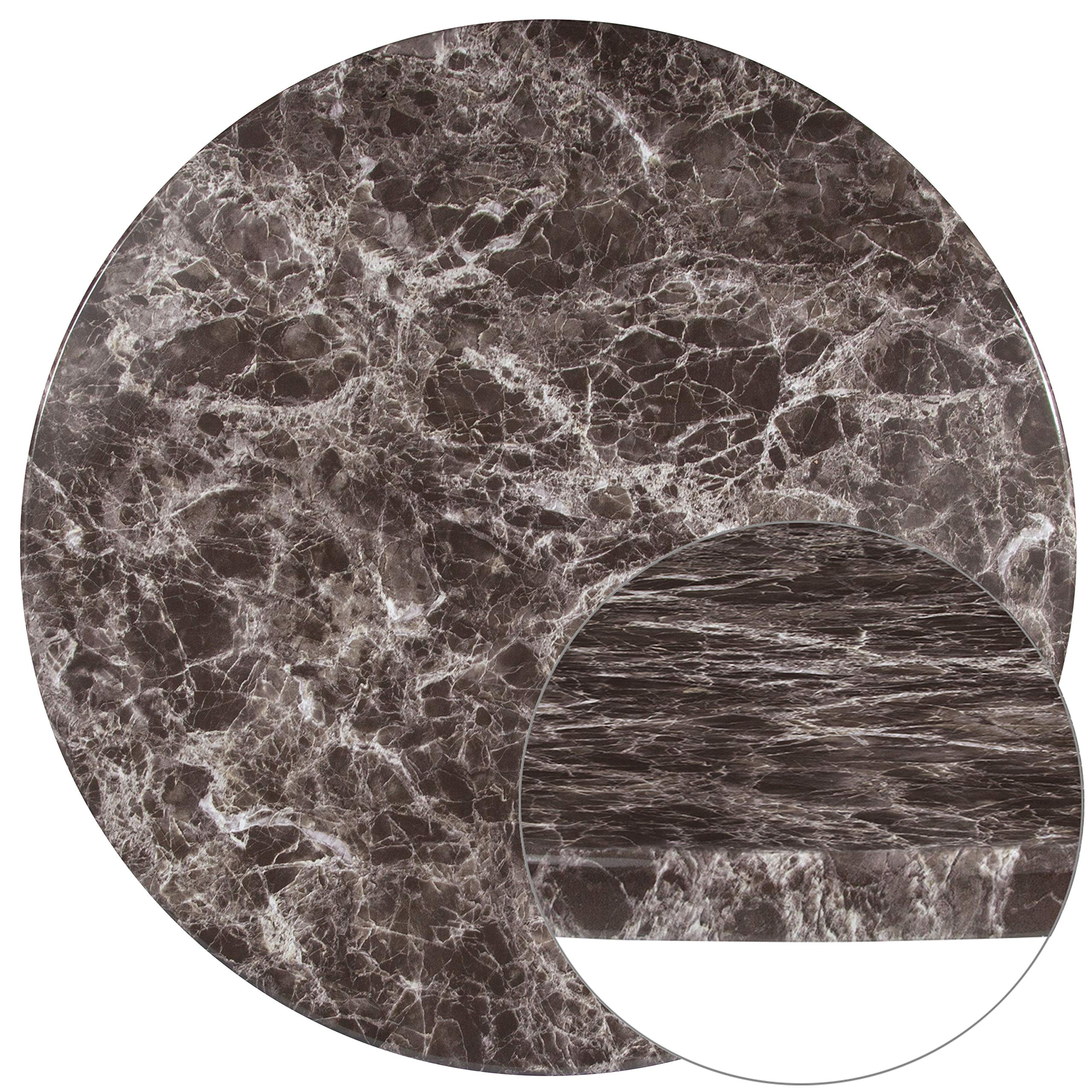 Flash Furniture 42'' Round Gray Marble Laminate Table Top by Flash Furniture