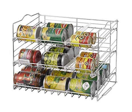 Kitchen Can Organizer Amazon finnhomy chrome stackable can organizer can rack storage finnhomy chrome stackable can organizer can rack storage for 36 cans stack another set on top workwithnaturefo