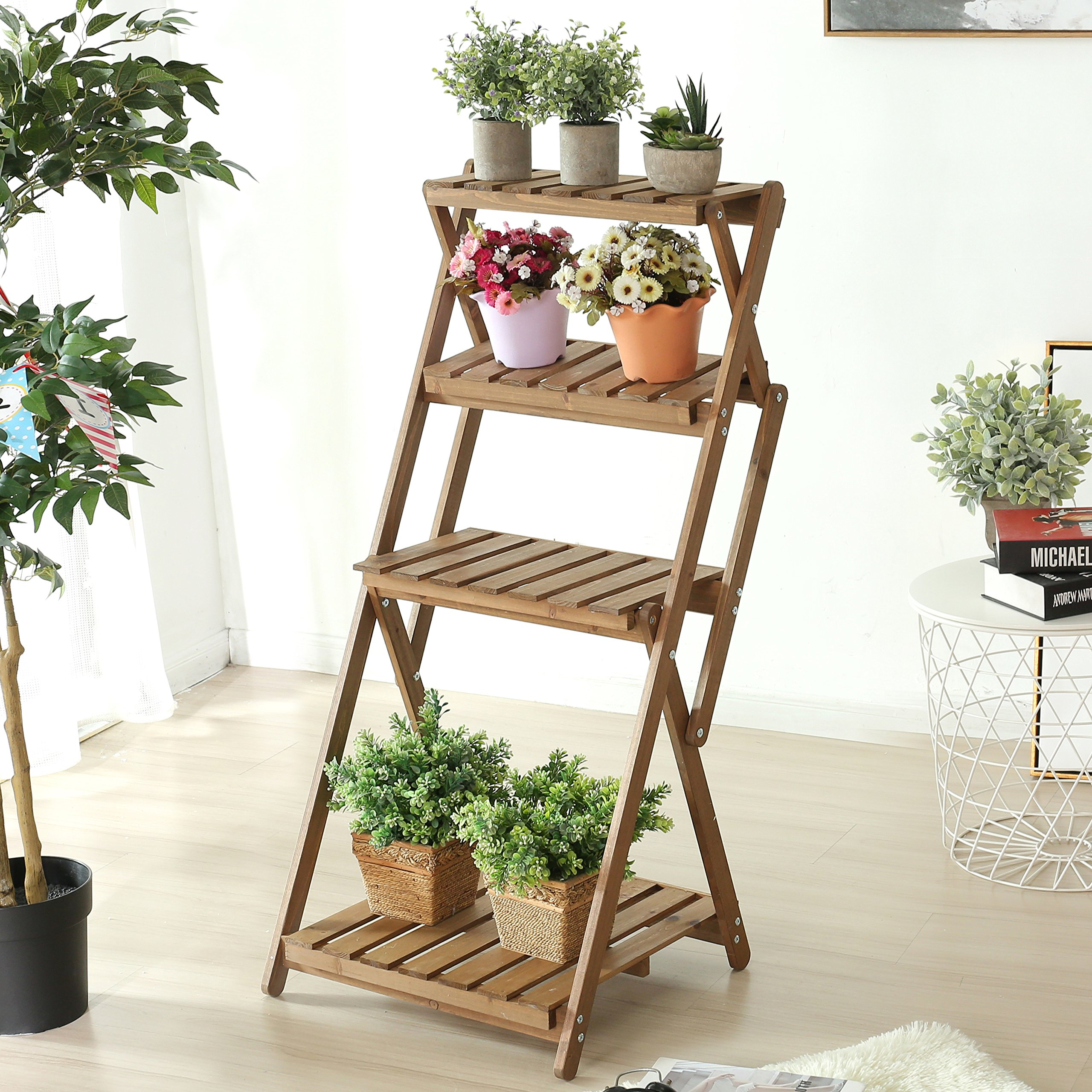 4 Tier Foldable Wood Slat Plant Rack, Decorative Indoor / Outdoor Display Shelf Stand, Brown by MyGift