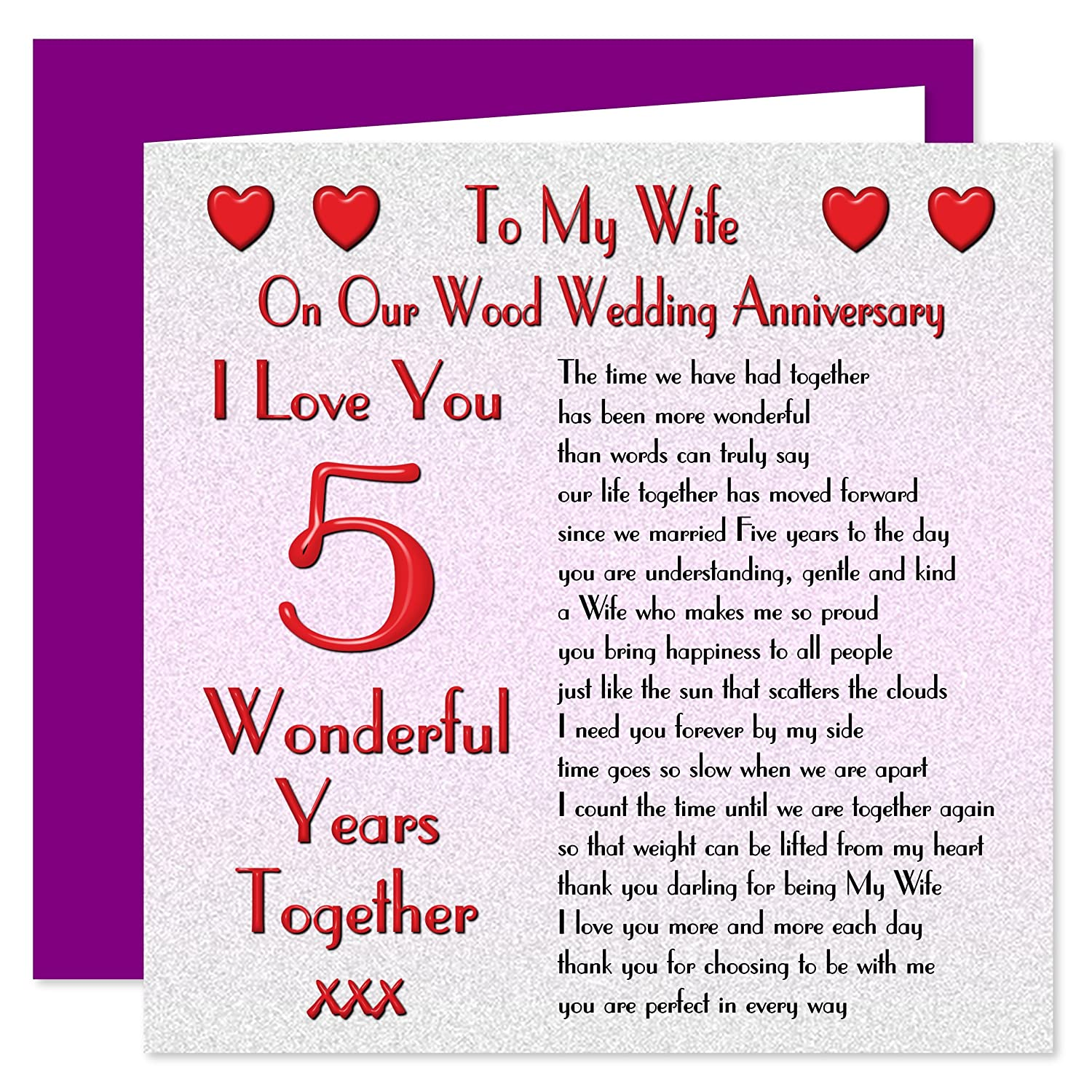 On Our Wood Anniversary Sentimental Verse I Love You 5 Years My Husband 5th Wedding Anniversary Card