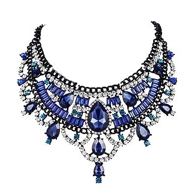 94dc8aeb8ea BriLove Women s Wedding Bridal Crystal Double Layer Teardrop Statement  Necklace Sapphire Color Black Tone  Amazon.ca  Jewelry
