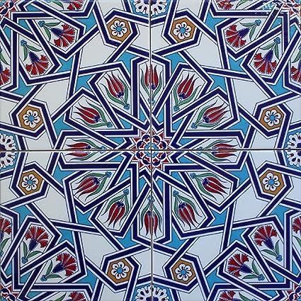 Amazon 60x60 Turkish Ottoman Iznik Red Carnation Tulip Delectable Turkish Pattern