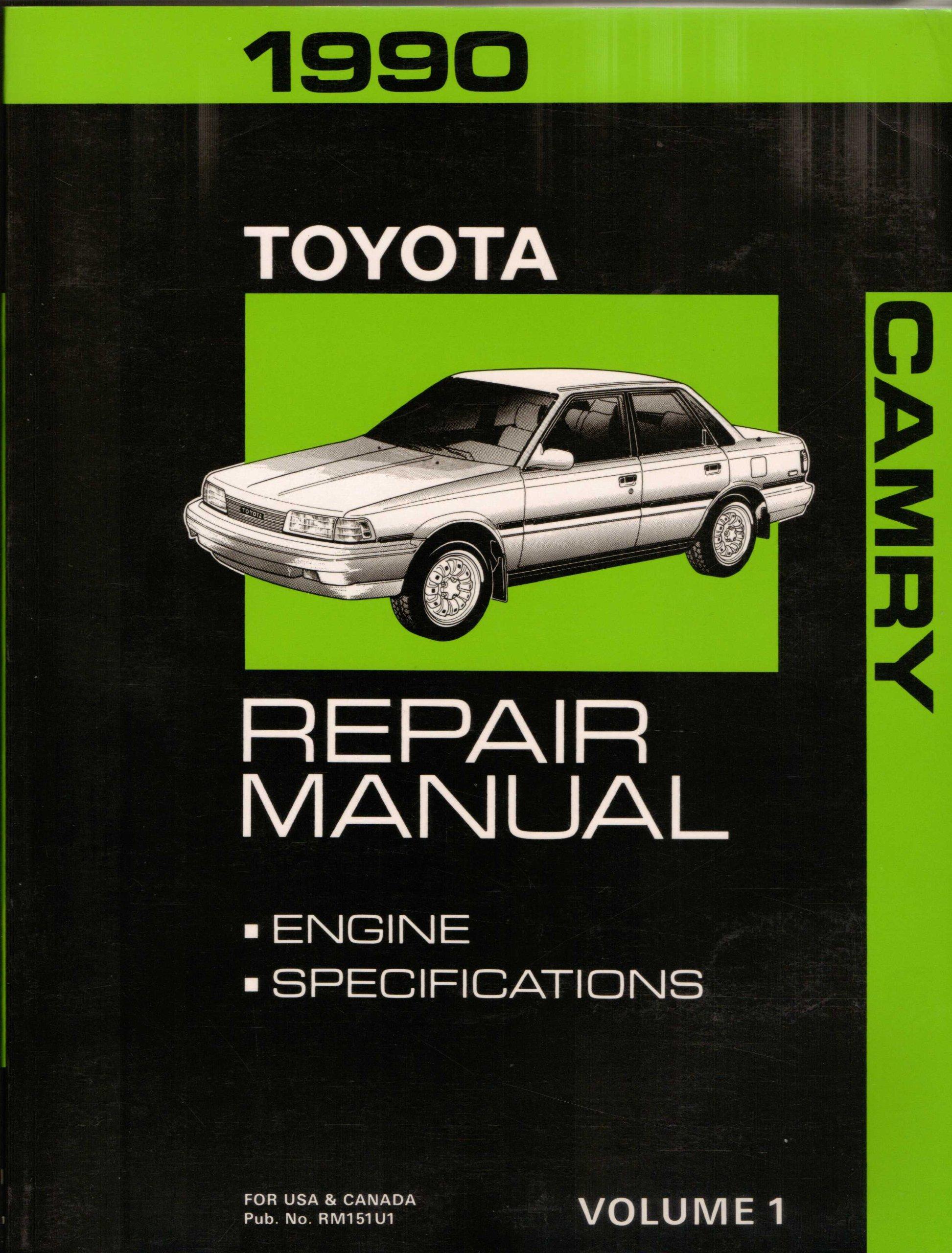 1990 Toyota Camry Repair Manual: Engine, Specifications (Volume 1): Toyota:  Amazon.com: Books