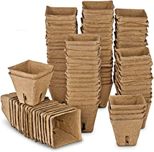 ANGTUO Seed Starter Peat Pots Kit for Garden Seedling Tray 100% Eco-Friendly Organic Germination Seedling Trays Biodegradable 102 Pack  20 Plastic Plant Markers Included