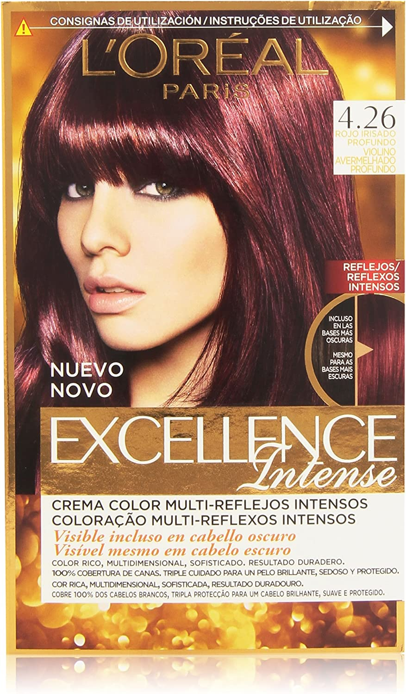 LOréal Paris Excellence Intense Coloración, Tono: 4,26 Rojo Irisado Profundo