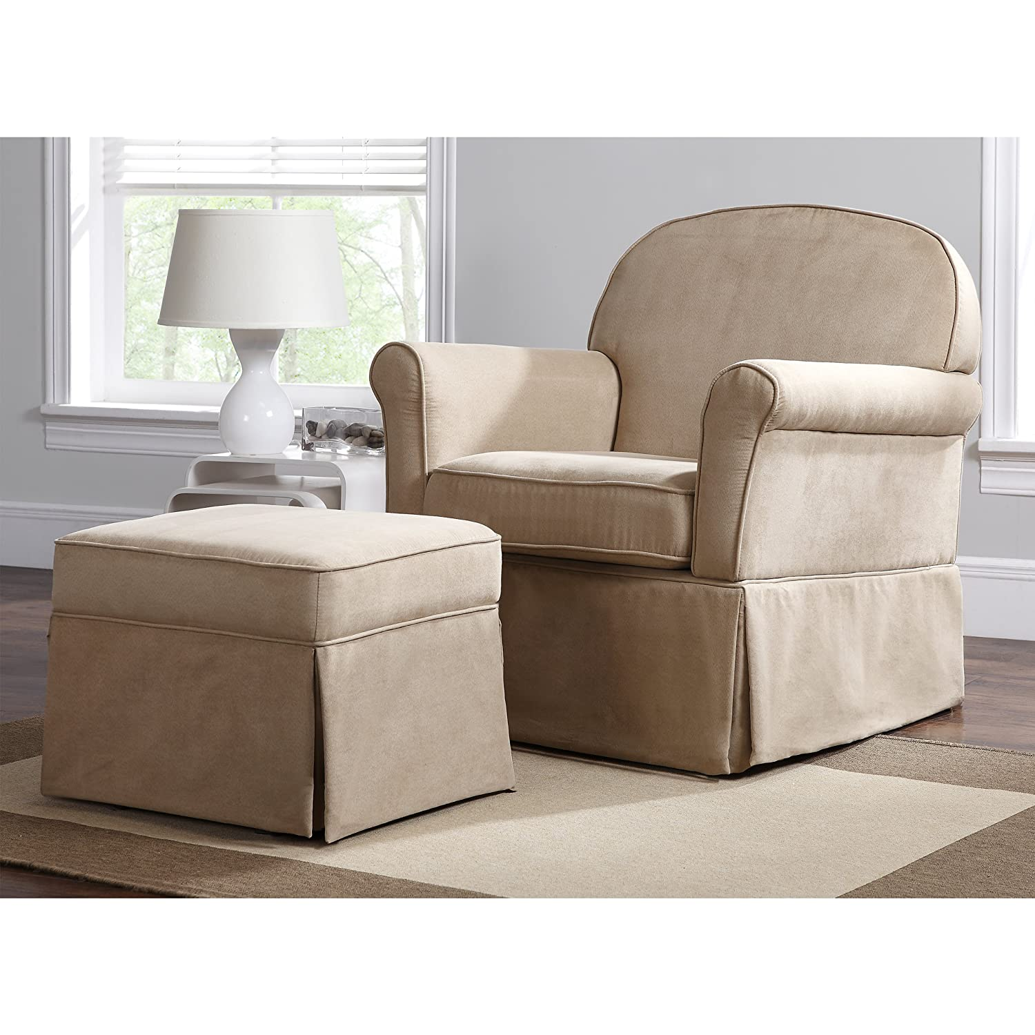 amazoncom baby relax swivel glider and ottoman set hickory brown microfiber baby